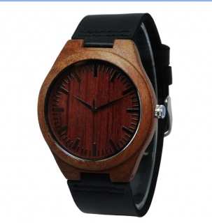 Hodinky Bamboo Red - black